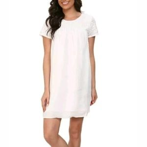 lucky brand short sleeve embroidered shift dress